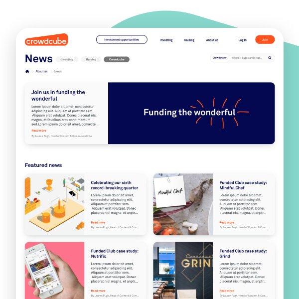 desktop feature - Crowdcube blog design